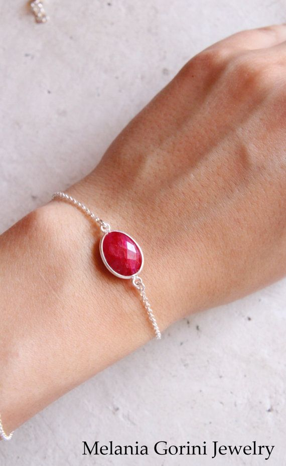 Beautiful 925 sterling silver bracelet with dyed ruby by MelaniaGoriniJewelry