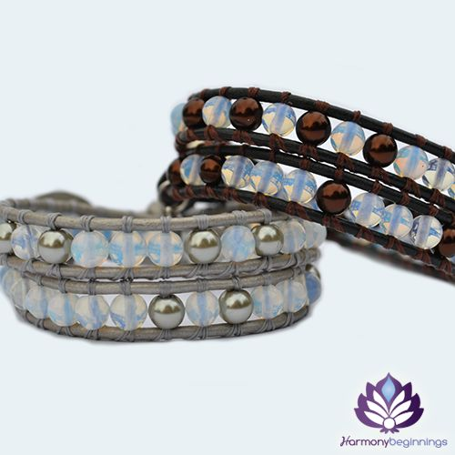 """Our Lunar wrap bracelet is designed with Moonstone Gemstones. A magical stone that glows blue hues when hit with any light. The """"Gem of Hope"""". Created to bring protection and good fortune to the wearer. This stone promotes intuition and inspiration, opening up the true self with ease and enhancing meditative states. On silver or black leather (or vegan alternative*), finished with a unique button clasp. Two colours to choose from - Silver ..."""