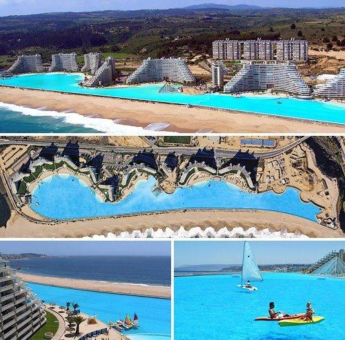 """Este es el más grande piscina en el mundo. La piscina es un parte de la hotel """"San Alfonso Del Mar"""" en Santiago. La piscina tiene 1km en longitud y es 35 metros de profundidad"""