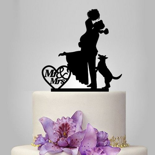 unique wedding cake topper with couple and dog, cake decor