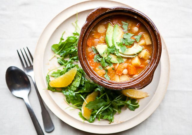 White bean chili with arugula and winter citrus salad