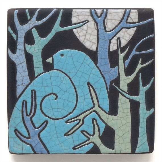 Bird,Tree,Ceramic Wall Art ,Aqua, Turquoise Bird,Ceramic tile,handmade 4x4 raku fired art tile