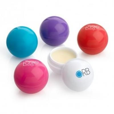 Image of Branded Vanilla Ball Shaped Lip Balm. Made In UK