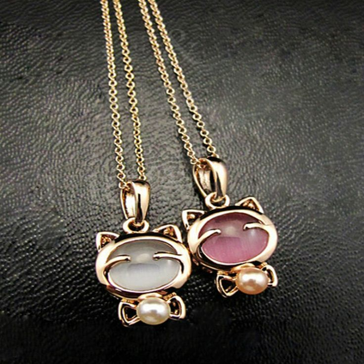 Lucky Cat Necklace Ladies Cat Eye Stone Stone Necklace Pendant Clavicle Chain  Price: 9.95 & FREE Shipping  #hashtag1