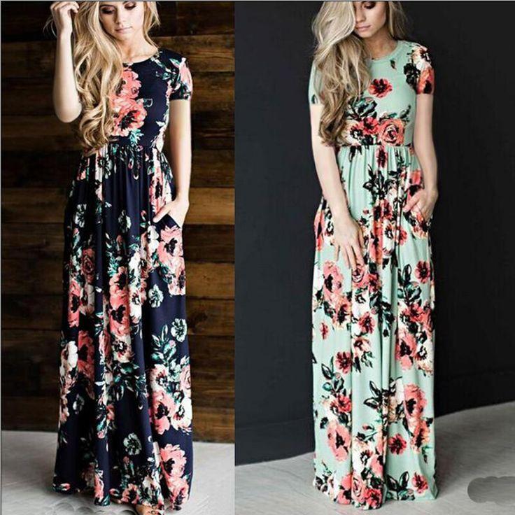 Summer Women Floral Print Short Sleeve Empire Waist Boho Dresses Femme Vestidos Ladies Evening Party Long Beach Maxi Dress