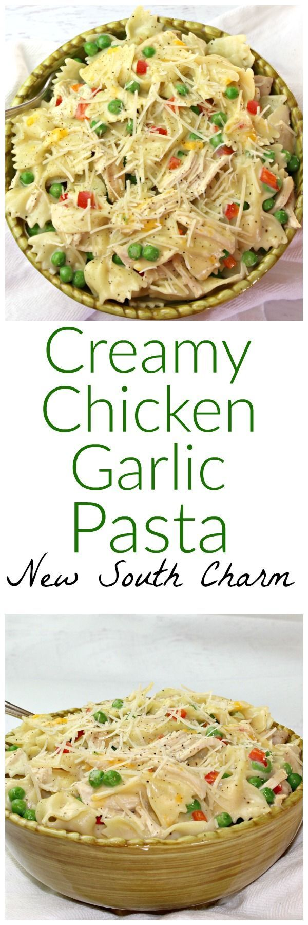 This pasta recipe features chicken and garlic in a creamy sauce that will leave everyone wanting more.  Creamy Chicken Garlic Pasta is a recipe that's easy enough for a weeknight but fancy enough for company.