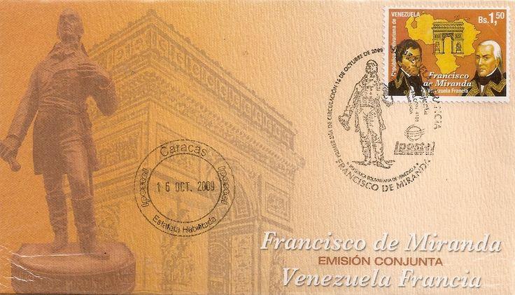 Venezuela: emisión conjunta Francia - Venezuela Francisco de Miranda 2009