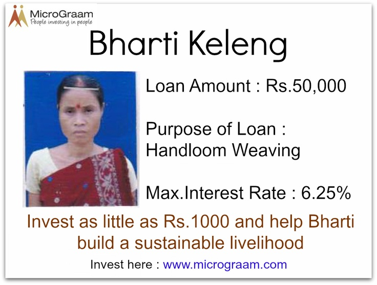 Bharti needs a loan for Rs.50,000 ($1,000) to improve her hand-loom weaving business. A small amount can make an extraordinary difference. Make a loan to a MicroGraam borrower at www.micrograam.com