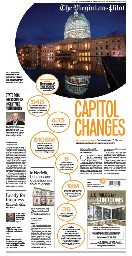 The Virginian-Pilot's front page for Tuesday, Nov. 4, 2014. Election Day.