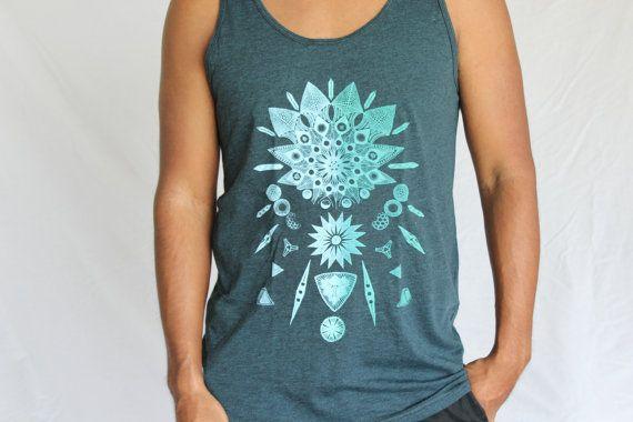 Diatom Phytoplankton Tank Top - Ghost mint print on 50/50 mens tanks. Microscopic life. Living crystal shirt. Innately Geometric mens tank.