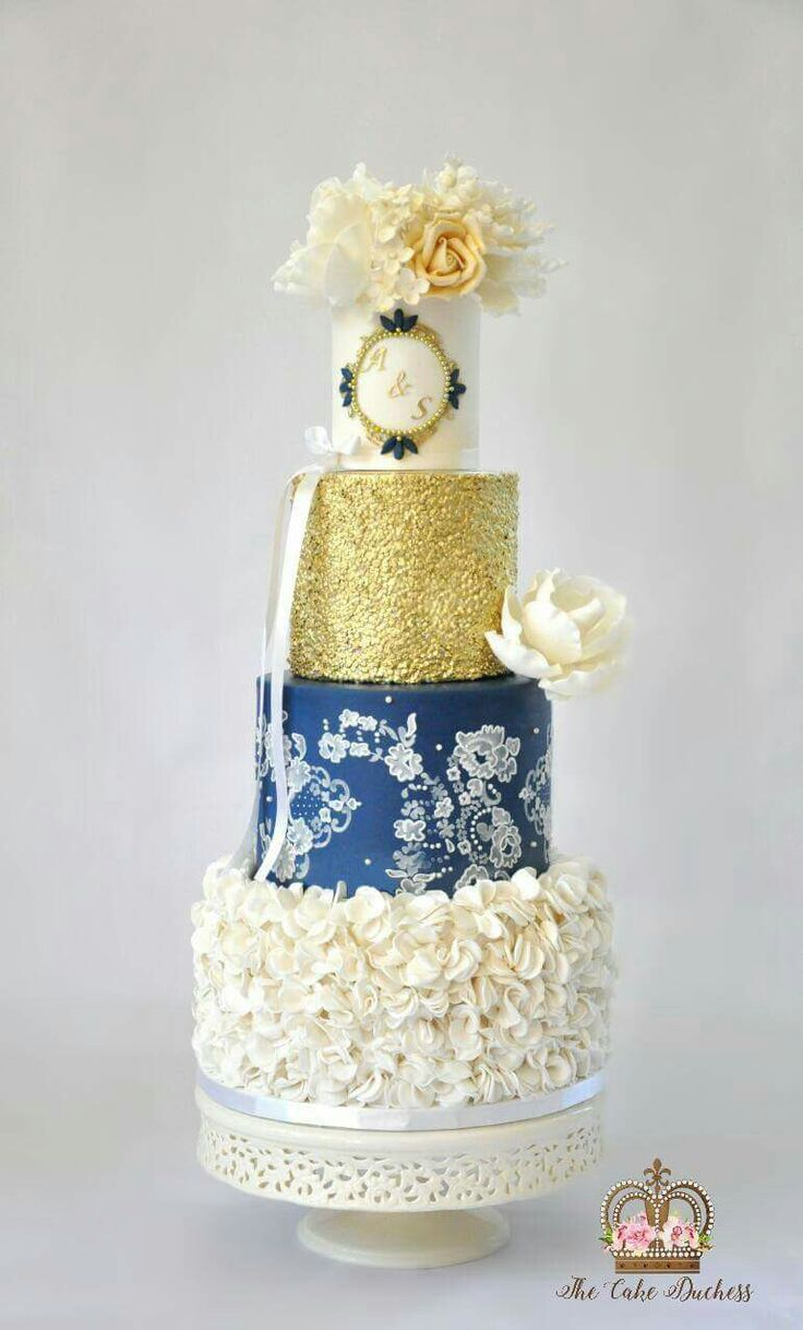 Vintage Cake with Navy Blue