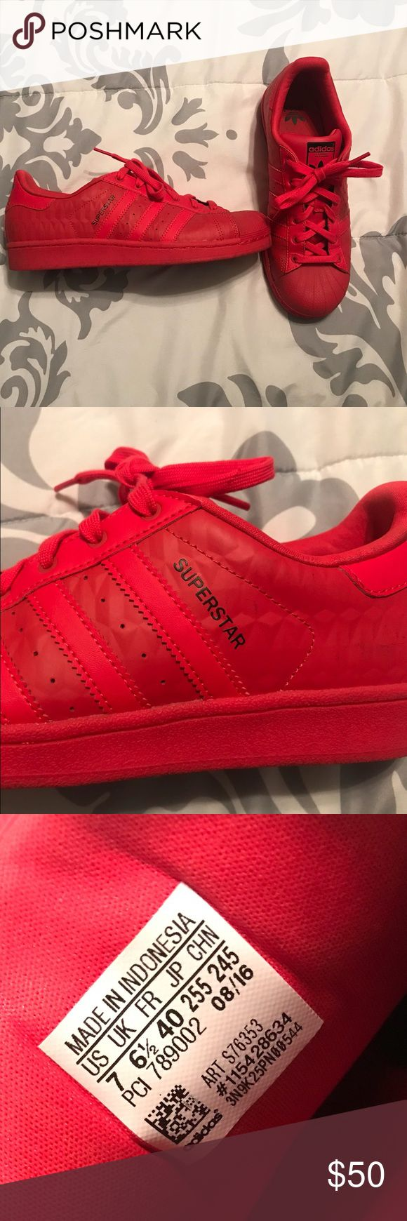Red Adidas shoes Bright red Adidas shoes, never been worn adidas Shoes Athletic Shoes