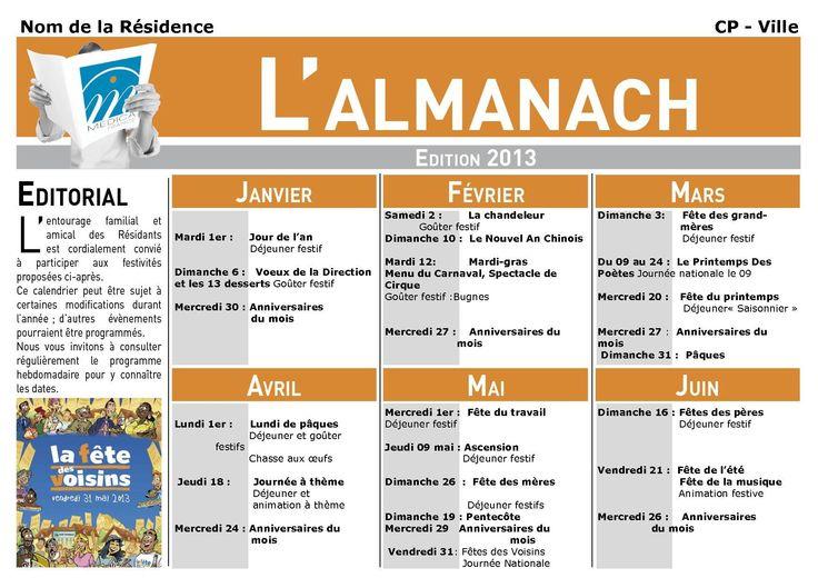 Programme Annuel d'Animation 2013 | Maison de retraite 69 – Résidence l'Hermitage Croix Rousse – Lyon