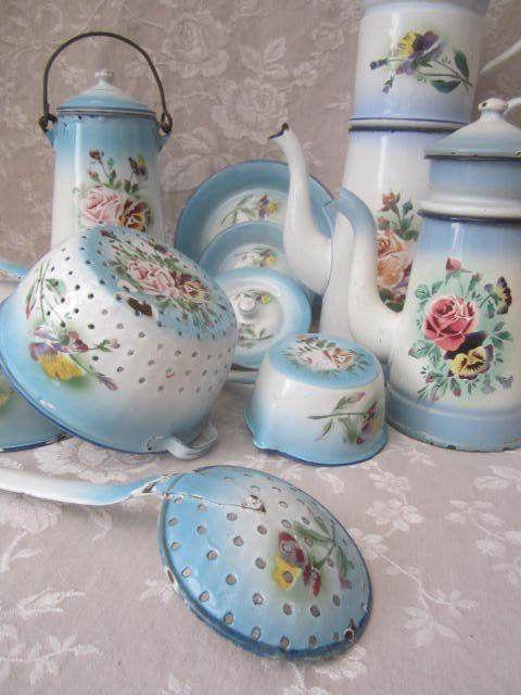 Rarest ever ! Old FRENCH FLORAL ENAMELWARE SKIMMER Rose & Pansy Blue Shading
