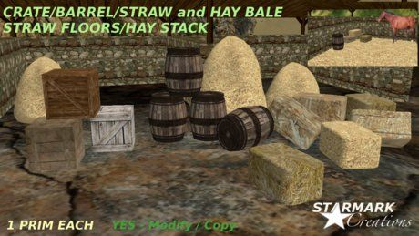 Barrels/Crates/Straw and Hay Bale/ Hay stack/ Straw floor from STARMARK CREATIONS -- promo price --