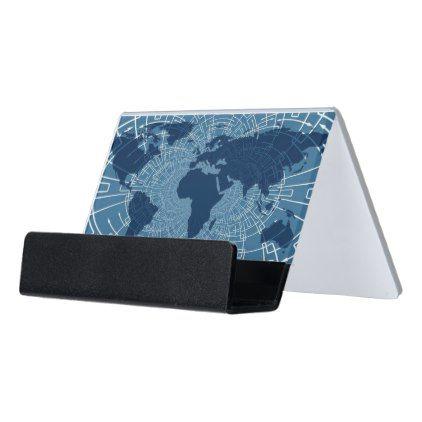 International Map Blue Business Card Holder - cyo diy customize unique design gift idea