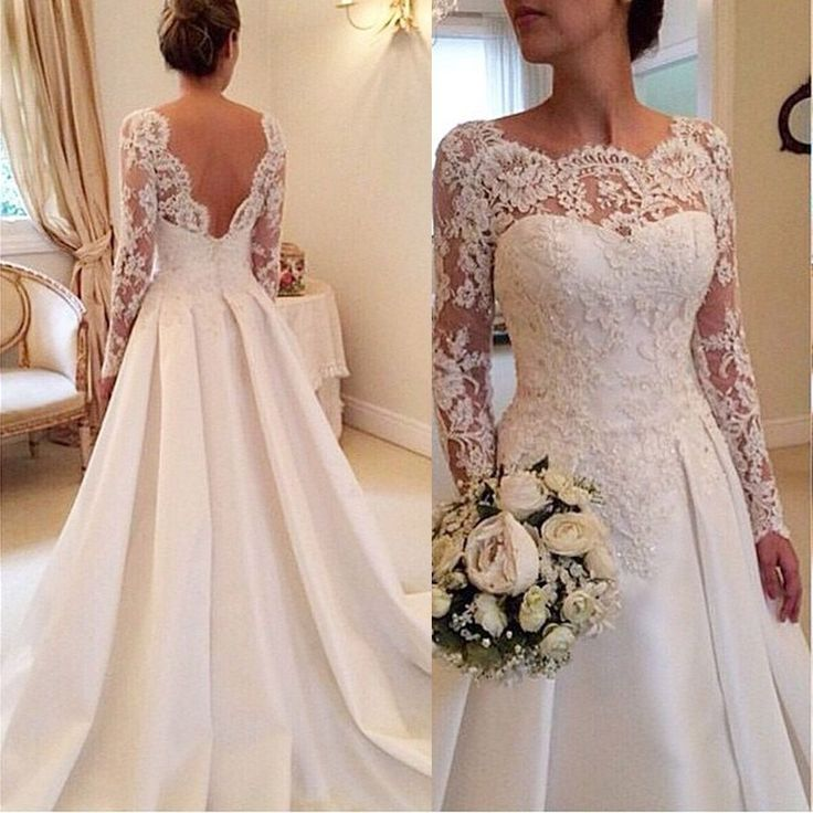 Online Shop 2016 Elegant Vestido De Renda Lace Long Sleeve Wedding Dress Open Back A Line Bridal Gowns Plus Size Satin W3816   Aliexpress Mobile