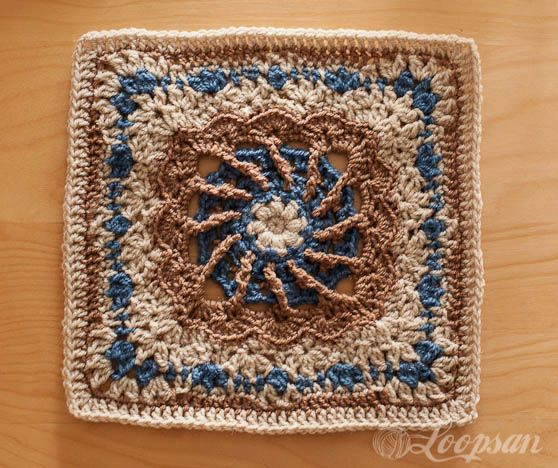 One Block Week CAL: Week 38 May Pole Square. ||  ♡ WOW...THIS IS BEAUTIFUL! I LOVE THE BLUE & BROWNS TOGETHER,  AND IT'S SO DIFFERENT! WOULD LOVE TO SEE THIS AS A FINISHED AFGHAN ON THE BACK OF A COUCH!  ♥A