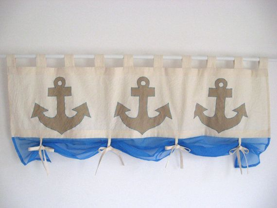 Taupe Anchor Applique Navy Blue Valance Nautical Tab Top Window Treatment…