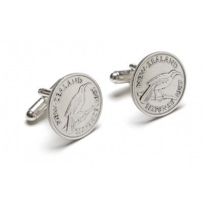 Vintage Coin Cufflinks Sixpence. These sixpence vintage coin cufflinks are a stylish statement on any dress shirt. They are hand crafted from vintage New Zealand currency no longer in circulation. The sixpence features the now extinct New Zealand Huia bird on the front and King George the Sixth on the back. Each coin is approximately 19mm in diameter. Comes presented in a black satin lined gift box. A great gift or souvenir genuinely Made in New Zealand.  See more at…