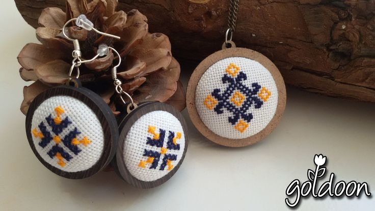 cross stitch jewelry,cross stitch necklace,cross stitch earring,wooden jewelry,hand stitch,handicraft