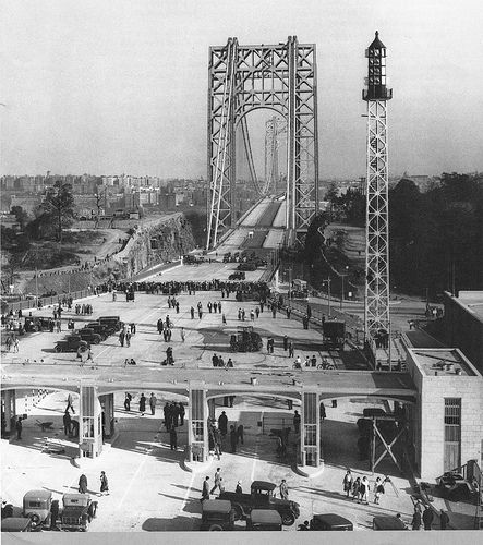 George Washington Bridge in Fort Lee. Opening day 10-24-1931. New York