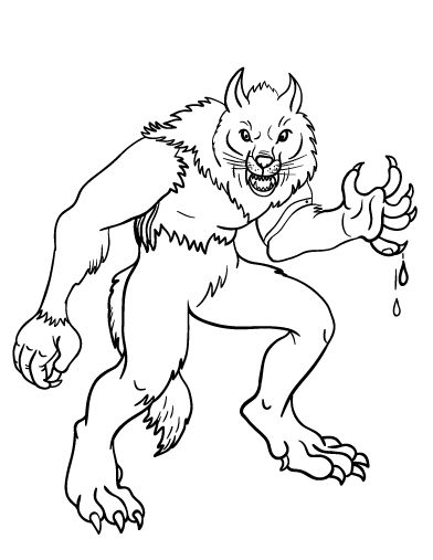 printable werewolf coloring page free pdf download at httpcoloringcafecom