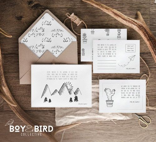 Mountain-Sketch-Collection wedding invites australia boho unique