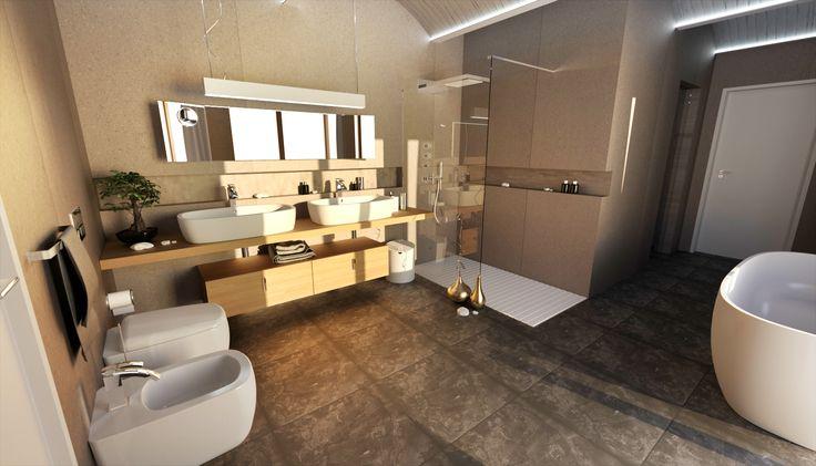 Interiér koupelny rodinného domu vybavený produkty z portfolia značek společnosti AQUA TRADE. Design: Martin Tochaczek