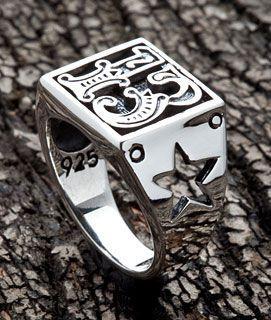 Number 13 Sterling Silver Biker Ring