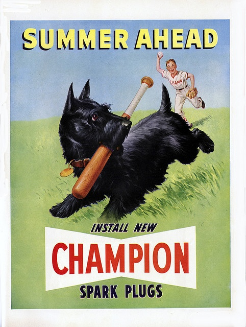 Champion spark plugs vintage summer ad with Scotty dog / Scottish terrier.  #baseball