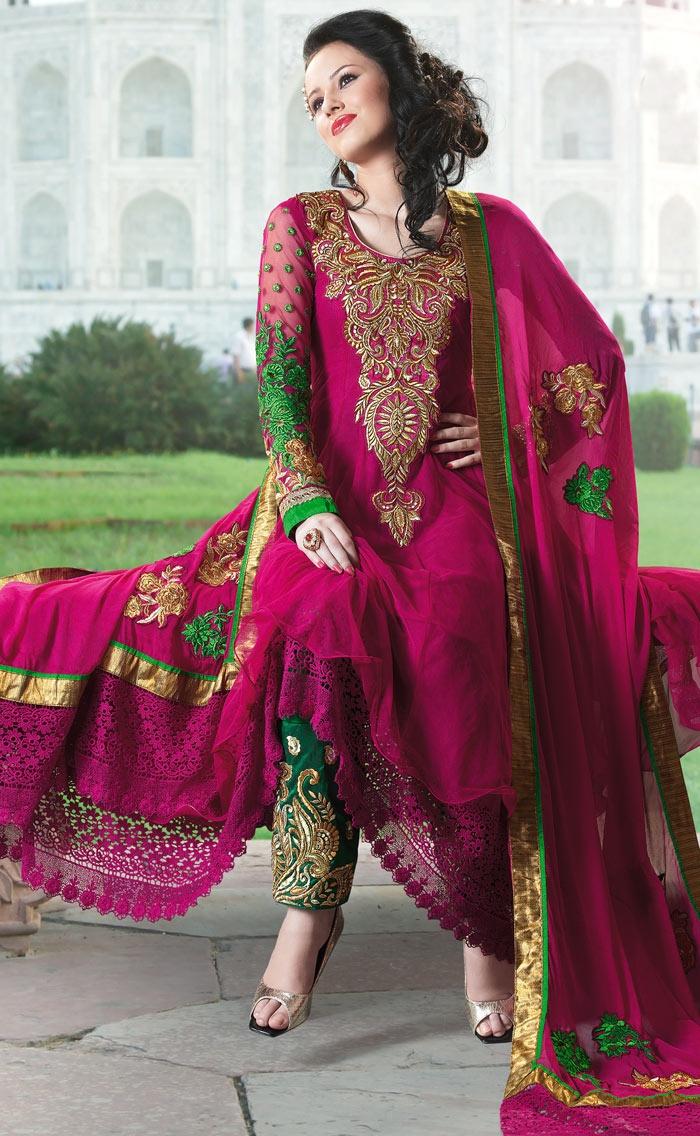 Deep Pink Faux Georgette #Bridal #Salwar #Kameez