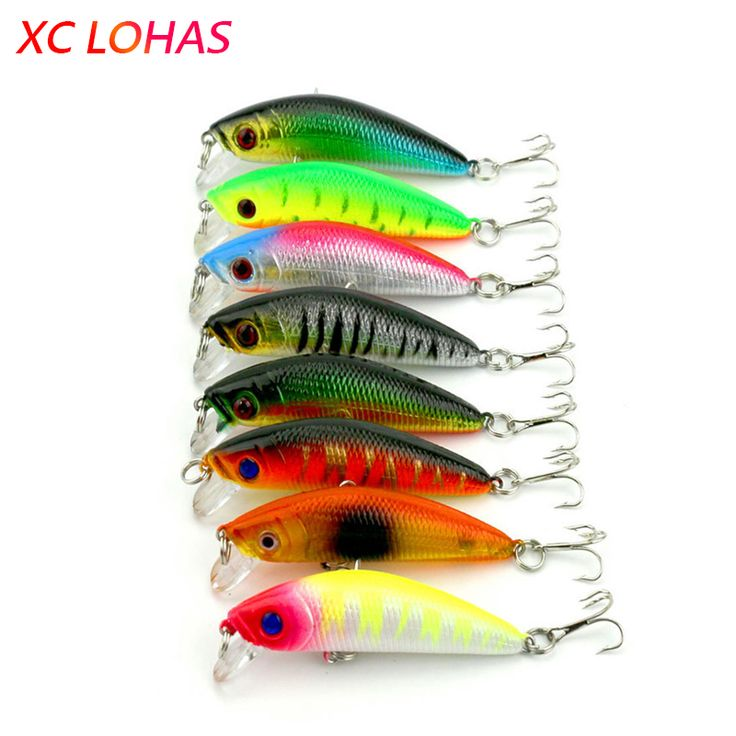 7cm 7.7g Hard Plastic Fishing Minnow Lure 3D Fish Eye Artificial Lures with Hooks Sea Fishing Tackle MI012