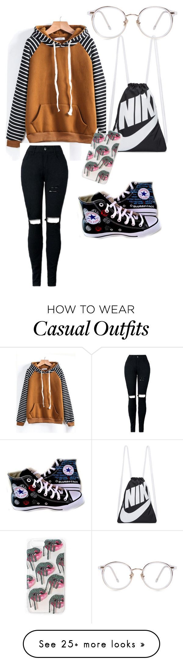 """Casual"" by emutrash4 on Polyvore featuring NIKE and Converse"