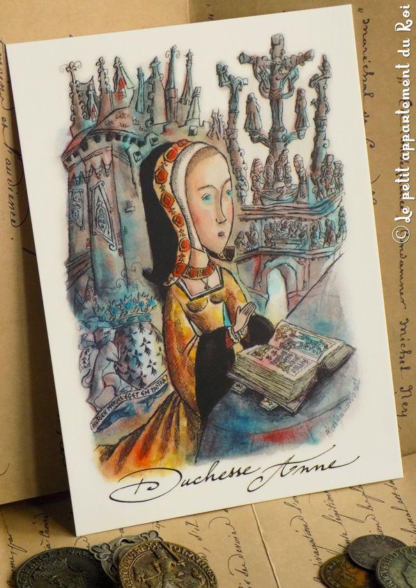 Duchesse Anne de Bretagne - LE PETIT APPARTEMENT DU ROI vous propose une collection de cartes postales inédites et artistiques, illustrées par l'artiste Alban Guillemois. #albanguillemois #artiste #lepetitappartementduroi #bretagne #poésie #duchesseanne #châteaudesducsbretagne #pleyben #brest #saintbrieuc #catholique #calvaire #kentochmervelegetbezañsaotret #breizh #andouarsokozhmedneoketsod #hermine #charlesVIII #louisXII