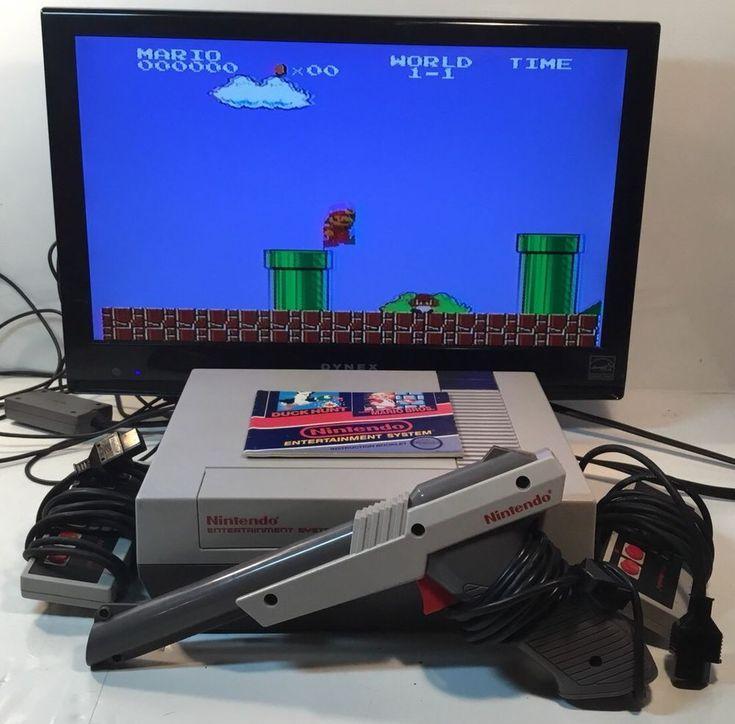 NINTENDO NES CONSOLE VIDEO GAME SYSTEM COMPLETE SUPER MARIO BROS DUCK HUNT + GUN #Nintendo