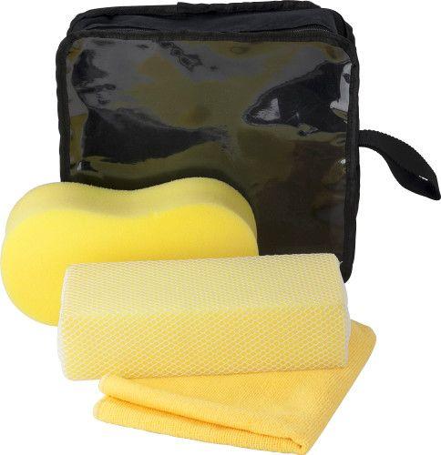 Set de 3 piezas para el lavado del coche: esponja, esponja con red y toalla de microfibra. www.tusregalosdeempresa.com