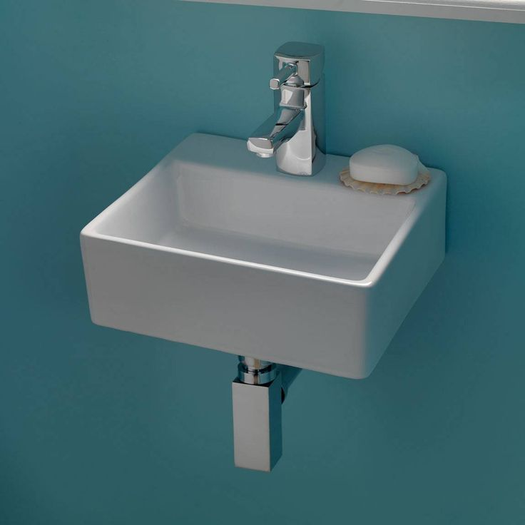 Another v. cute small basin. Thin edging is very nice. (Plumbing is not good) Bologna Wall Mounted Basin @ Victoria Plumb, £39.