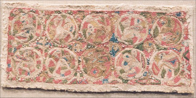 Roundals from the Maaseik Embroideries. These are anglo-saxon embroideries that look very much like the ones in the Oseberg burial. Dated to the second half of the 9th century.