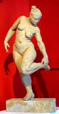Sue On The Edge by lucianne lassalle, Sculpture, Stoneware
