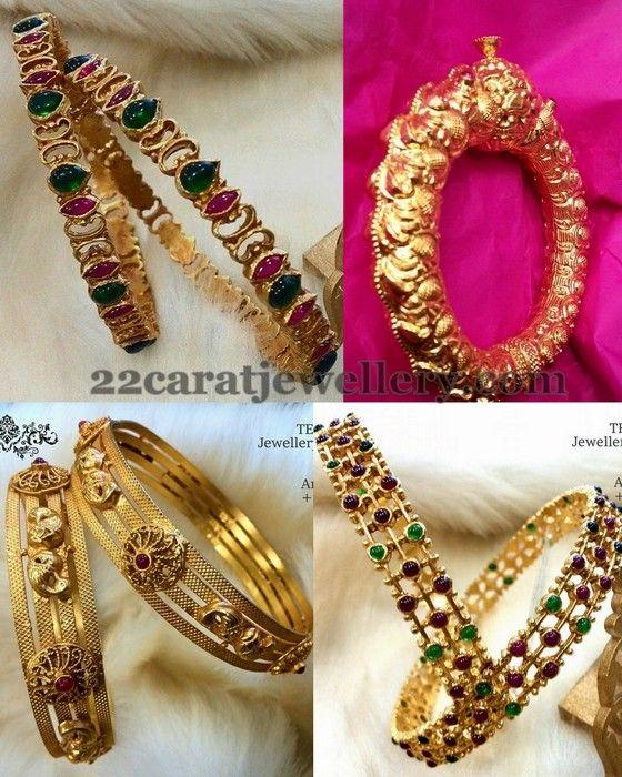 Jewellery Designs: Antique Gemstone Thin Bangles