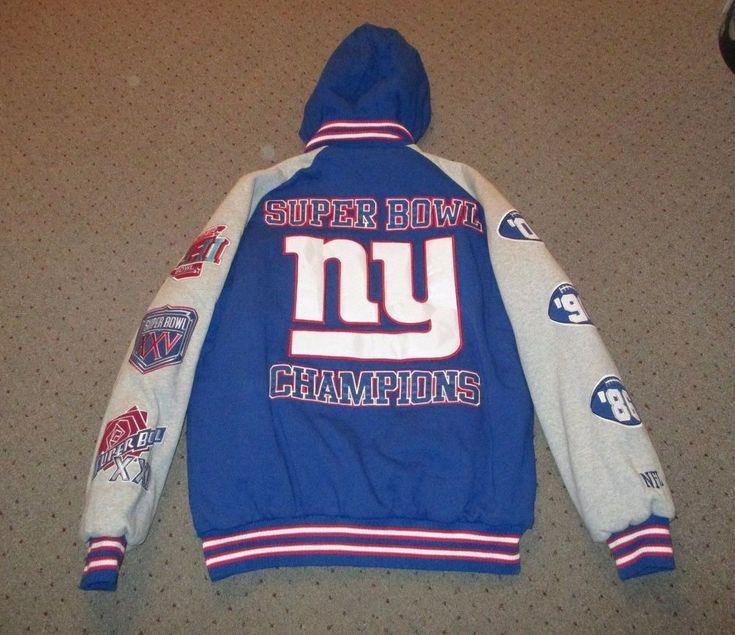NY GIANTS NFL SUPER BOWL XXI XXV XLII SB CHAMPIONS WINTER JACKET COAT MENS L EUC #NFL #NewYorkGiants