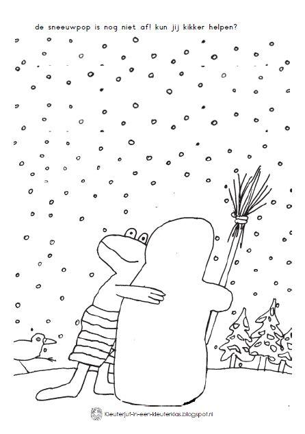 thema winter werkblad kikker in de kou knutselen