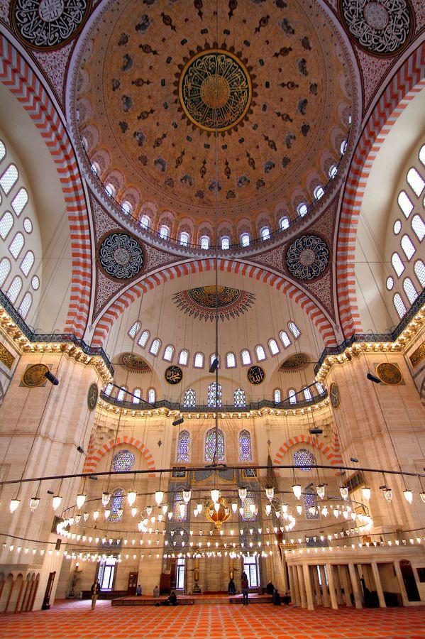 The Süleymaniye Mosque, ceiling, by Abdulkadir Abaz.