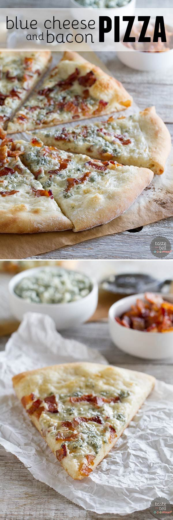 Change up your Friday night pizza with this Blue Cheese and Bacon Pizza.  Pizza crust is topped with an easy béchamel sauce, bacon and blue cheese for a gourmet pizza at home.