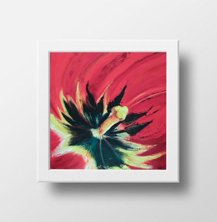 Krachtige kleuren van dit tulpen hart.   Tulip | Galerie Frisselstein | #tulp #hart #rood #schilderij #painting