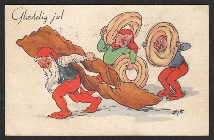 Glædelig jul Nisser med kager 1954 Danmark Postkort Brugt u mærke