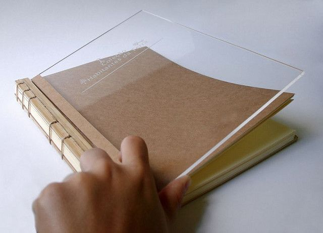 Japanese binding with acrylic and wood