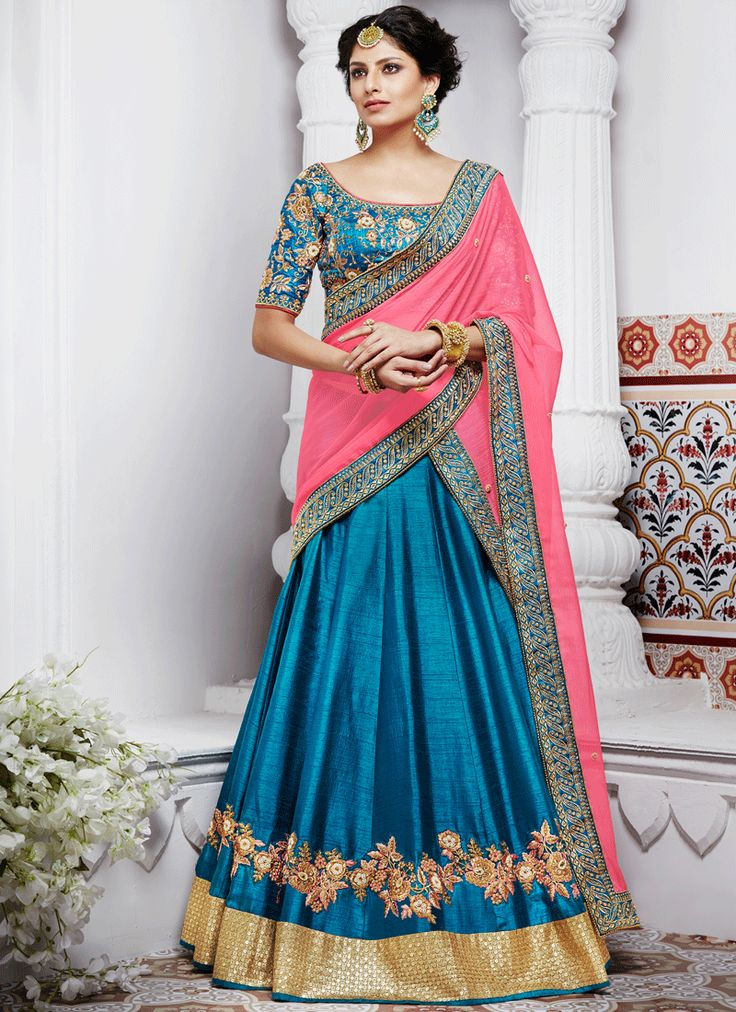 ROYAL BLUE N PINK SATIN SILK WEDDING LEHENGA SET