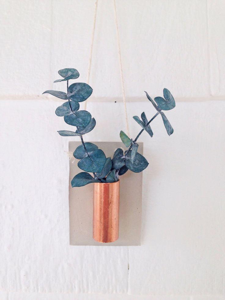 Copper + Cement Plant Holder | Air Plant | Copper Planter | Concrete Vase | Hanging Plant Holder | Modern Hanging Planter | Copper Vase by EttaAndOdie on Etsy https://www.etsy.com/listing/266363925/copper-cement-plant-holder-air-plant